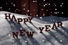 Tarjeta de Navidad con la nieve, Feliz Año Nuevo, copos de nieve Imagenes de archivo