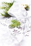 Tarjeta de Navidad con la rama de árbol de abeto y la Navidad Decorat de la plata Fotografía de archivo libre de regalías