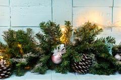 Tarjeta de Navidad con la rama y el topetón spruce Imagenes de archivo