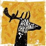 Tarjeta de Navidad con la silueta de ciervos Ejemplo del vector del Grunge Fotografía de archivo libre de regalías