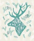 Tarjeta de Navidad con la silueta de ciervos Ilustración del vector Imagen de archivo libre de regalías