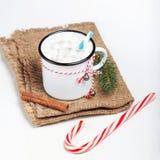 Tarjeta de Navidad con la taza del vintage, cacao caliente, melcocha con xma Fotos de archivo libres de regalías