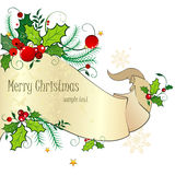 Tarjeta de Navidad con la voluta Foto de archivo