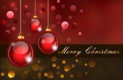 Tarjeta de Navidad con las bolas de la Navidad stock de ilustración