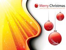Tarjeta de Navidad con las bolas florales de Navidad de las estrellas brillantes Fotografía de archivo libre de regalías