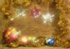 Tarjeta de Navidad con las bolas de la Navidad Fotos de archivo