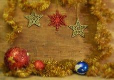 Tarjeta de Navidad con las bolas de la Navidad Imagen de archivo