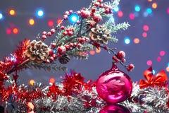 Tarjeta de Navidad con las decoraciones Fotografía de archivo libre de regalías