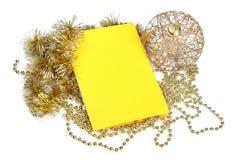 Tarjeta de Navidad con las decoraciones Fotografía de archivo