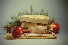 Tarjeta de Navidad con las manzanas rojas Foto de archivo libre de regalías