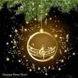 Tarjeta de Navidad con las notas musicales de oro sobre una rama de la picea stock de ilustración