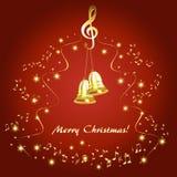 Tarjeta de Navidad con las notas musicales de oro y las campanas de oro ilustración del vector