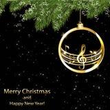Tarjeta de Navidad con las notas musicales y los copos de nieve de oro ilustración del vector