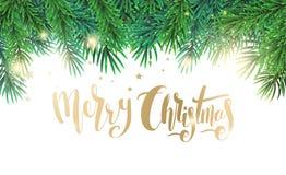 Tarjeta de Navidad con las ramas de árbol del texto y de abeto stock de ilustración