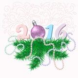 Tarjeta de Navidad con las ramas y la bola del abeto Imagen de archivo
