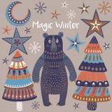 Tarjeta de Navidad con los árboles y las estrellas del invierno Fotografía de archivo libre de regalías