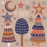 Tarjeta de Navidad con los árboles y las estrellas del invierno Imagen de archivo