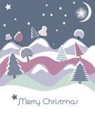 Tarjeta de Navidad con los abetos stock de ilustración
