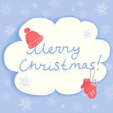 Tarjeta de Navidad con los accesorios del invierno Fotos de archivo libres de regalías