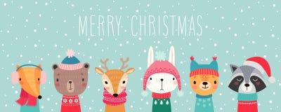 Tarjeta de Navidad con los animales lindos Caracteres drenados mano Aviadores del saludo ilustración del vector