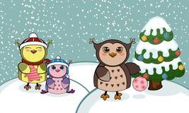 Tarjeta de Navidad con los búhos Imagen de archivo libre de regalías
