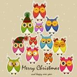Tarjeta de Navidad con los búhos Imágenes de archivo libres de regalías