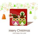 Tarjeta de Navidad con los búhos Fotografía de archivo libre de regalías