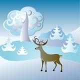 Tarjeta de Navidad con los ciervos Fotos de archivo