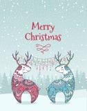 Tarjeta de Navidad con los ciervos Imagen de archivo libre de regalías