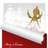Tarjeta de Navidad con los ciervos dulces que miran el resplandor mágico en el fondo nevoso del bosque stock de ilustración