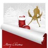 Tarjeta de Navidad con los ciervos dulces que miran la bota de santas en el fondo nevoso del bosque libre illustration