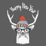 Tarjeta de Navidad con los ciervos en sombrero del invierno Diseño de letras de la Feliz Navidad Ilustración del vector Fotos de archivo