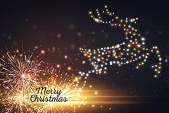 Tarjeta de Navidad con los ciervos mágicos de la silueta y las luces que oscilan Ilustración del vector Fotografía de archivo