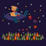 Tarjeta de Navidad con los ciervos Santa Claus libre illustration
