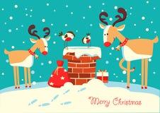 Tarjeta de Navidad con los ciervos y los pájaros del piñonero que se sientan en la ji stock de ilustración