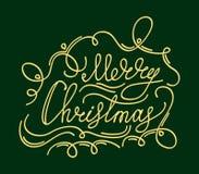 Tarjeta de Navidad con los elementos de la decoración de la caligrafía Imagenes de archivo