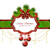 Tarjeta de Navidad con los elementos decorativos Fotografía de archivo