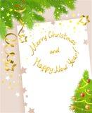 Tarjeta de Navidad con los elementos decorativos de la Navidad Fotografía de archivo