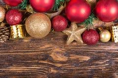 Tarjeta de Navidad con los juguetes Imagen de archivo libre de regalías