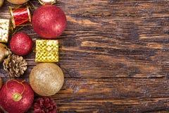 Tarjeta de Navidad con los juguetes Imágenes de archivo libres de regalías