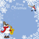Tarjeta de Navidad con los músicos de los muñecos de nieve stock de ilustración
