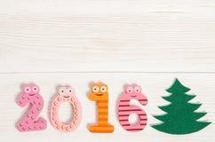 tarjeta de Navidad con los números divertidos 2016 Imagen de archivo