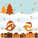 Tarjeta de Navidad con los pájaros ilustración del vector