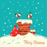 Tarjeta de Navidad con los pájaros del piñonero que se sientan en la chimenea y el l libre illustration