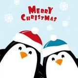 Tarjeta de Navidad con los pingüinos libre illustration