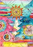 Tarjeta de Navidad con los árboles decorativos Imagenes de archivo