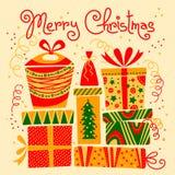 Tarjeta de Navidad con los rectángulos de regalo Foto de archivo libre de regalías
