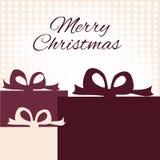 Tarjeta de Navidad con los regalos de Navidad con el espacio para el texto Imagen de archivo libre de regalías
