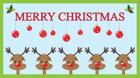 Tarjeta de Navidad con los renos Foto de archivo libre de regalías