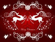 Tarjeta de Navidad con los renos y los copos de nieve Foto de archivo libre de regalías